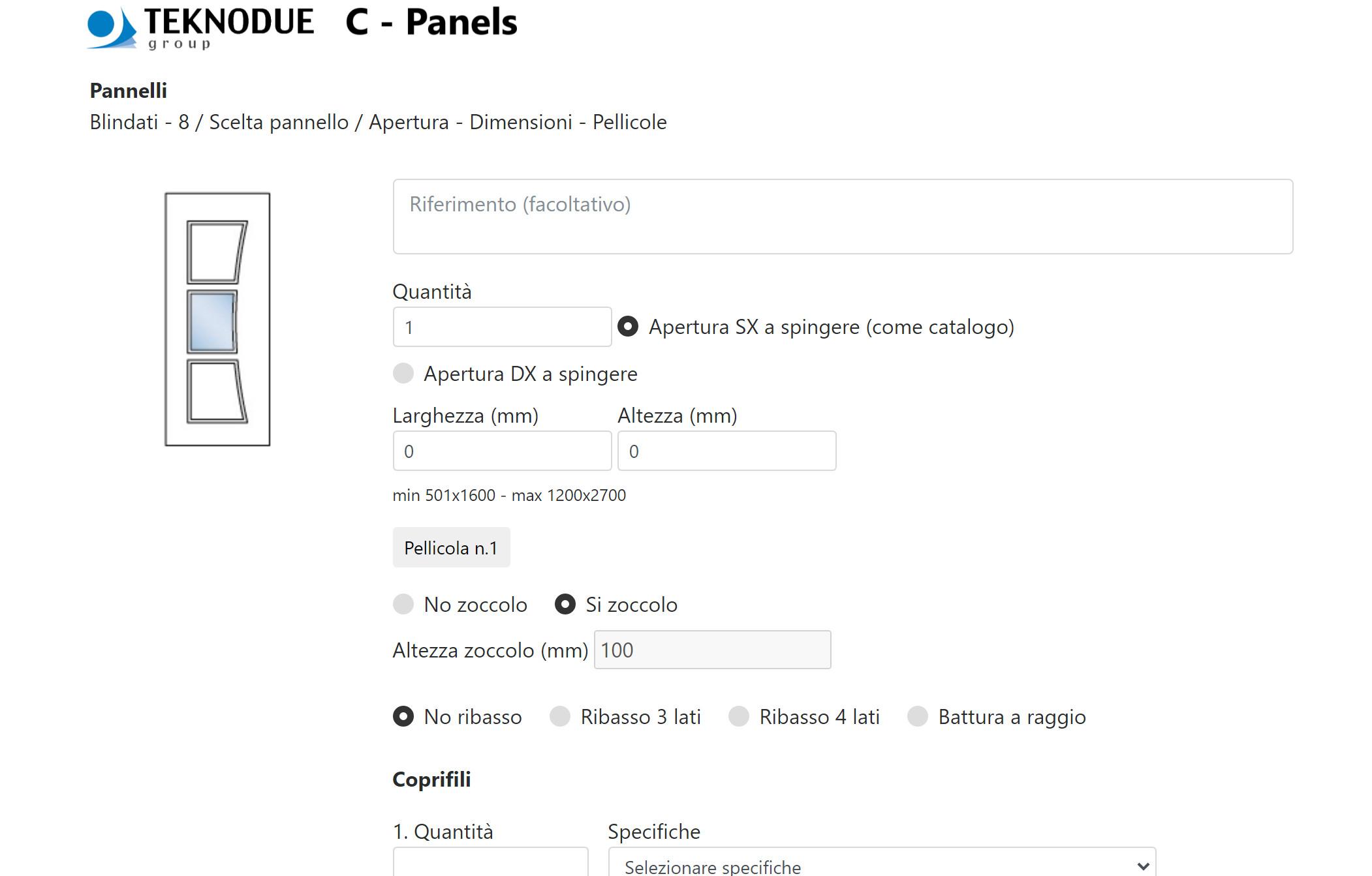 L'inserimento dei dettagli dell'ordine e la scelta dei componenti aggiuntivi