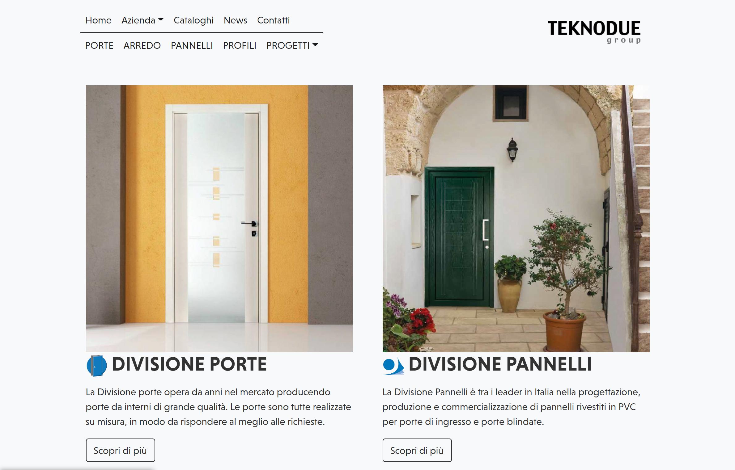La suddivisione dei servizi in home page