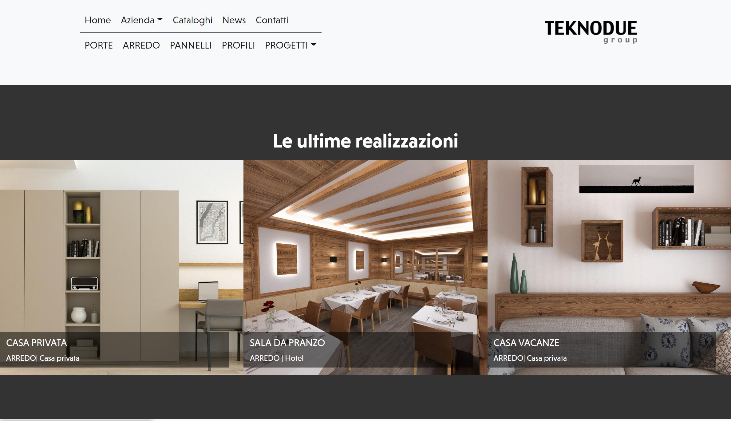 La sezione delle ultime realizzazione in home page